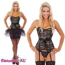 Ladies Burlesque Boned Corset Dress Up Costume Showgirl Bustier Tutu Skirt