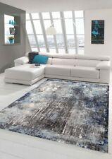 Alfombra de sala de estar de diseño y alfombra moderna en azul gris crema