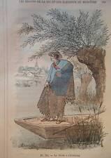 GRAVURE COULEUR DE DEMARLE 1887 PECHE A L' EPERVIER