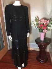Black Stretch Fitted Sleeve Sparkle Abaya Muslim Jilbab W/ Hijab 54 56 58 60 62