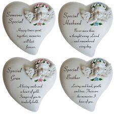 New Angel Cherub Heart Shape Memorial Plaque With Flower Garden Keepsake Tribute
