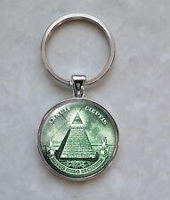 Pyramid All Seeing Eye Illuminati Currency Free Mason Money Dollar Keychain