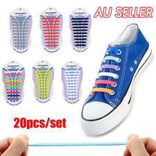 Easy No Tie Elastic Lazy Shoe Lace Shoelaces Silicone Kids Adult Unisex 20pcs