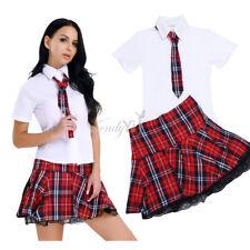 Women Sexy Lingerie Halloween School Girl Uniform Fancy Dress Costume Outfit WD