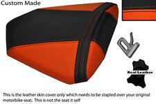 ORANGE & BLACK CUSTOM FITS KTM RC8 REAR PILLION REAL LEATHER SEAT COVER