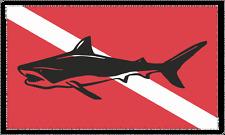Bull Shark on Dive Flag Decal / Sticker 200-2