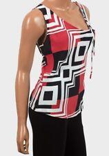 Ladies Top Ex-BHS Red Multi Print Side Tie Detail Sleeveless Womens Tops.8.10.12
