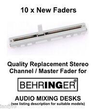 10 x Behringer Mixer Audio scrivania RICAMBIO Fader/dispositivo di scorrimento STEREO parte di ricambio