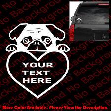 Peeking PUG Your Custom Text Car Window/Laptop Vinyl Die Cut Decal Sticker AM022