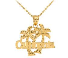 Yellow 14k Gold California Palm Tree Pendant Necklace