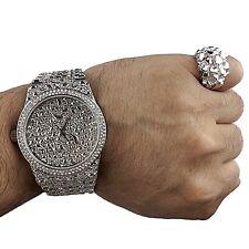 Mens Big Nugget Watch & REAL 925 Silver Ring Blinged Hip Hop Rapper Set SZ 7-13