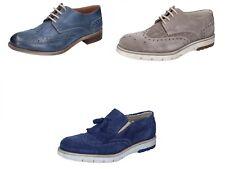 KEP'S by CORAF scarpe uomo classiche mocassini beige camoscio e blu pelle