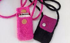 EL BURRO Damentasche  Handytasche Filztasche Schultertasche pink schwarz