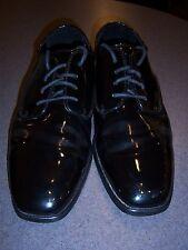 Mens Dress shoes - Black faux patent leather oxford - Square toe fashion - BRC