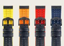 Pulsera strukturiertes cuero y PREMIUM CAUCHO NEGRO / Azul 20mm