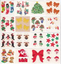 Vintage Sandylion Fuzzy Christmas Holiday Stickers Bow Bear Santa -You Choose