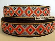 "Grosgrain Ribbon Aztec Design Orange Gold Border Key Fobs Lanyards Sewing, 7/8"""
