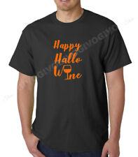 Happy Hallo Wine T Shirt Halloween Hallowine Wine Lovers Tee Short Sleeve