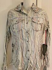Miss Me button down crinkle stripe women's shirt