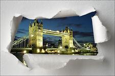 Sticker Trompe l'oeil papier déchiré déco Londres réf 366