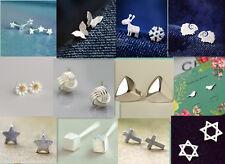 NEU Damen 925 Sterling Silber Ohrstecker Ohrringe Ohrschmuck Sterne, Blume