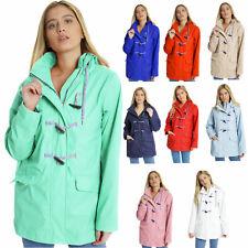 Womens Festival Rubberised Toggle Hood Rain Mac Raincoat Showerproof Jacket Coat