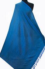"Large Periwinkle Blue 100% Silk Shawl Light Pashmina Scarf Paisely 44""x71"""