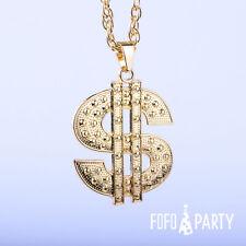Dollar Sign Necklace Money Sign Gold Silver Hip Hop Metal