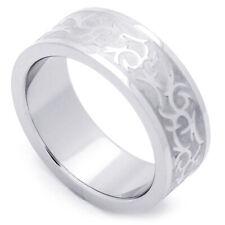 Men Fashion 8MM Stainless Steel Tribal Design Wedding Band Ring
