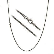 Black Rhodium over Pure 925 Sterling Silver 1.8mm Italian Popcorn Chain Necklace