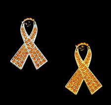 CRYSTAL ORANGE RIBBON BOW LEUKEMIA KIDNEY CANCER AWARENESS BROOCH PIN