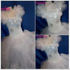 Girls Long White Snow Ice queen Frozen Angel Star Show Flake Sparkle dress 1 -10