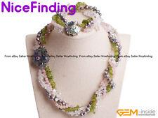Handmade Quartz Pearl Cluster Statement Necklace Bracelet Women Jewelry Set Gift