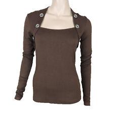 New Sugar Rock Women Bolero Top Blouse Button Shirt Long Sleeves in Brown