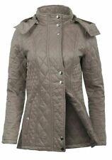 Womens Grey Diamond Quilted Lined Warm Nntarctica Detachable Hood Coat Jacket