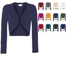 Solid Knit Long Sleeve Crop Open Bolero Cardigan  S~XL