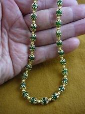 "(v308-14-20) 20"" long Green jade gemstone + gold beads beaded Necklace JEWELRY"