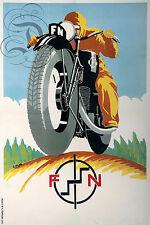 PLAQUE ALU DECO REPRODUISANT AFFICHE F N FABRIQUE NATIONALE MOTO MOTARD 2 ROUES