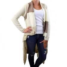 Long Cardigan Open Knit Sweater Jacket Coat Off White Tan & Light Brown Striped