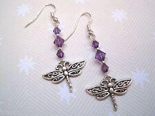 *Art Noveau Dragonfly* Purple Bead Long Drop Tibetan Silver Earrings Sp Gift Bag