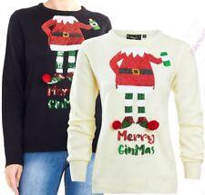 Womens Christmas Jumper Sequin Elf Xmas Size 10 to 14 Cream Black Novelty