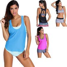 Sports bra tankini swimsuit with vest summer womens swimwear sets brief sexy