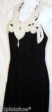 JESSICA McCLINTOCK: Elegant Long Black Cocktail Dress Pearl Collar, Size 6