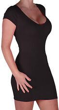 Womens V Neck Short Sleeve Bodycon Stretch Casual Plain Fashion Mini Party Dress