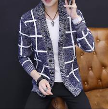 Men Cardigan Lapel Collar Slim Coat Outwear Casual Warm Jacket Knitting Muk15