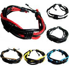 AL_ Men Women Braided Tribal Wrap Multilayer Bangle Faux Leather Cuff Bracelet C
