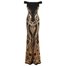 Angel-fashions Damen Aus der Schulter Gold Blumen Muster Pailletten Kleid 407