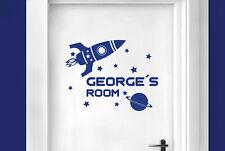 Personalised rocket ship in space kids room door Wall Stickers Vinyl Art Decals