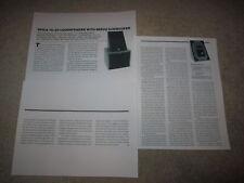 Spica TC-50 Speaker Review, 3 pgs, 1985, Full Test