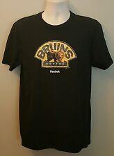 Boston Bruins NHL Mens Reebox Black Team Graphics Short Sleeve T-shirts: M-L